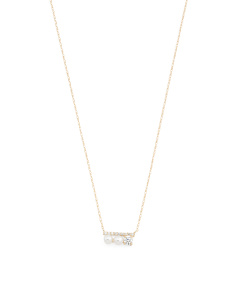 Made In USA 14k Gold Pearl And Cubic Zirconia Necklace