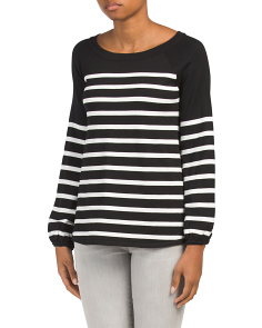 Raglan Striped Pullover Top