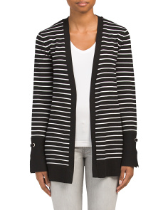 Striped Cardigan With Grommets