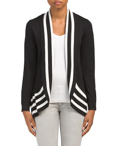 Striped Long Sleeve Circled Cardigan