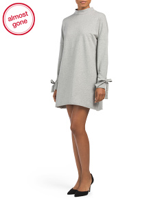 Mock Neck Sweater Dress With Side Ties