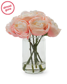10in Faux Rose Arrangement In Vase