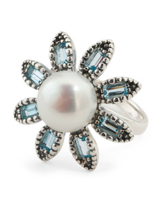 Made In Israel Sterling Silver Pearl And Blue Topaz Ring
