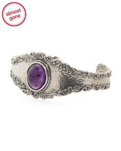 Made In Israel Sterling Silver Amethyst Cuff Bracelet