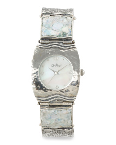 Women's Made In Israel Sterling Silver Roman Glass Watch