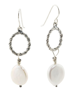 Made In Israel Sterling Silver Coin Pearl Earrings