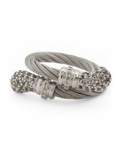 Stainless Steel Cable And White Topaz Lady Bypass Ring