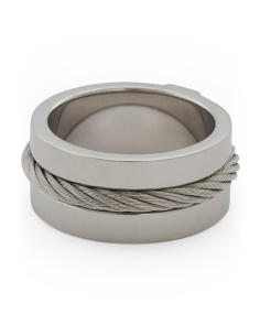 Stainless Steel And Cable Love Cruise Ring