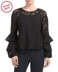 Lace Tiered Bell Sleeve Top