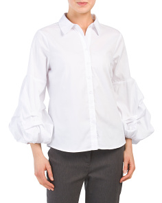 Tiered Balloon Sleeve Poplin Top