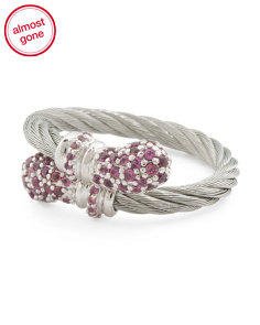 Stainless Steel Cable And Rhodolite Lady Bypass Ring
