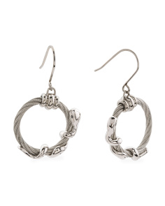 Sterling Silver Eve Cable Circle Earrings
