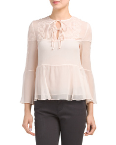 Sheer Pleated Silk Lace Top