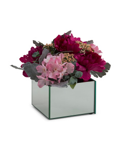 10in Faux Peony/Rose Arrangement In Pot