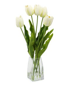 20in Faux Tulip In Glass Vase