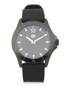 Men's Dallas Cowboys Blackout Silicone Strap Watch
