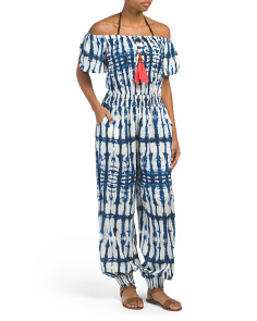 Tie Dye Off The Shoulder Cover-up Jumpsuit