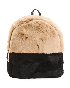 Faux Fur Color Block Backpack