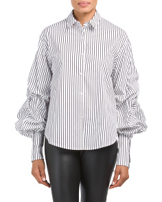 Balloon Sleeve Pinstriped Shirt