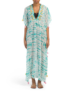 Embroidered Long Cover-up Caftan