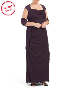 Plus Made In USA Cap Sleeve Gown