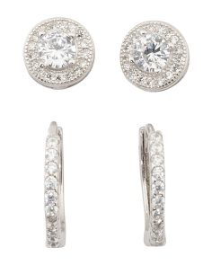 Set Of 2 Sterling Silver Cz Stud And Huggie Earrings