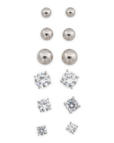 Set Of 6 Sterling Silver Cubic Zirconia And Ball Stud Earrings