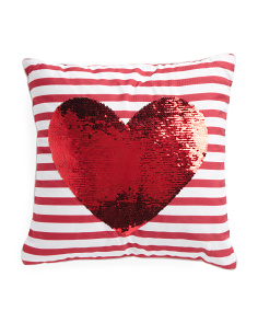 16x16 Reversible Sequin Heart Pillow