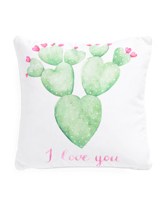 16x16 I Love You Cactus Pillow
