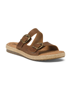Votua Double Buckle Leather Sandals