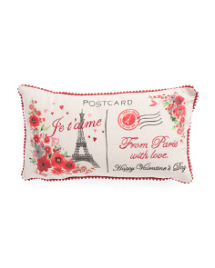14x24 Eiffel Tower Floral Pillow