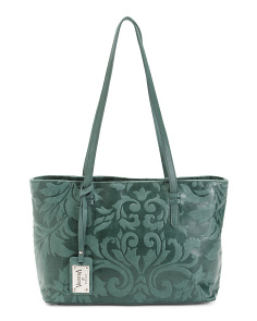 Made In Italy Leather Floral Tote