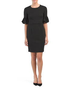 Sheath Dress With Bubble Sleeves