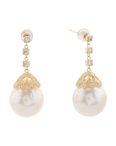 Gold Plated Sterling Silver Large Pearl Earrings