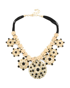 Medallion Crystal And Leather Necklace