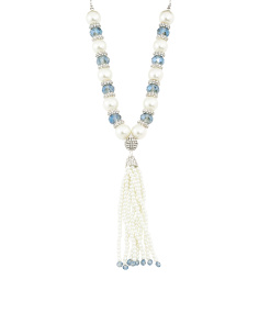 Navy Velvet And Blue Crystal Pearl Tassel Necklace