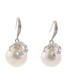 Sterling Silver Large Pearl Earrings