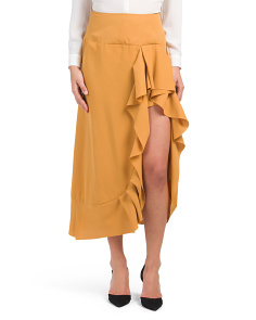 Juniors Long Side Ruffle Maxi Skirt