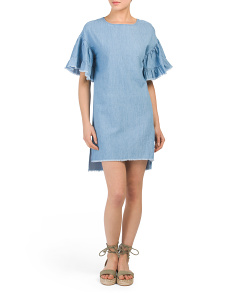 Juniors Ruffle Sleeve Chambray Dress