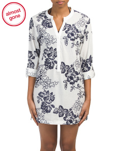Floral Embroidered Tunic Cover-up