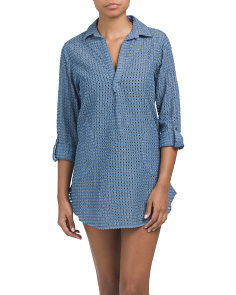 Chambray Long Sleeve Cover-up Tunic