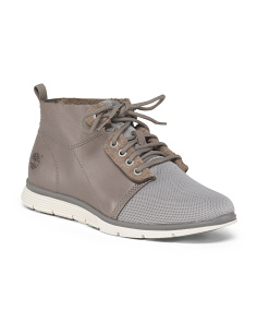 Wide Full Grain Leather Chukka Sneakers