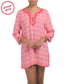 Embroidered Printed Cover-up Tunic