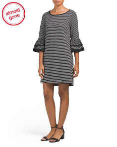 Stripe Knit Dress With Cuff Detail