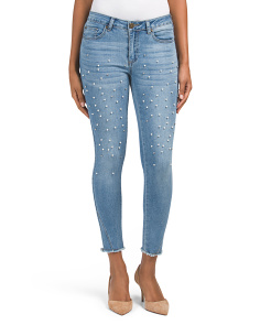 Juniors Mid Rise Skinny Jeans With Faux Pearls