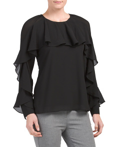 Long Sleeve Ruffle Front Top