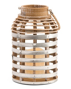 Distressed Wood LED Lantern