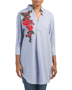 Floral Applique Chambray Tunic