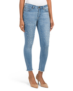 Juniors Mid Rise Jeans With Faux Pearls