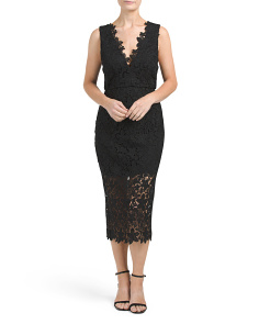 Plunging Lace Cocktail Dress
